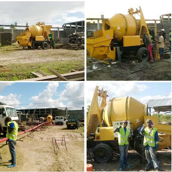 ABJZ40C Mini Concrete Mixer Pump Working in Mozambique