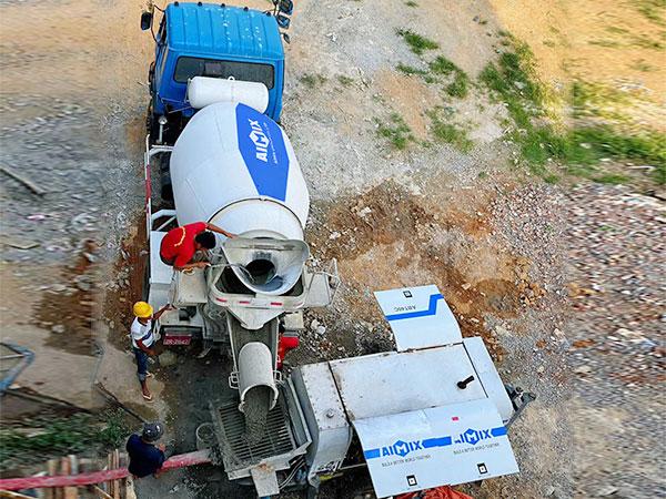Concrete Trailer Pump Working In Myanmar