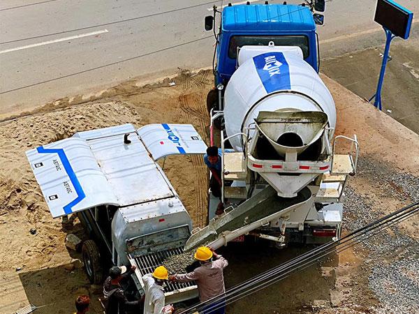 Portable Concrete Pump on Construction Site