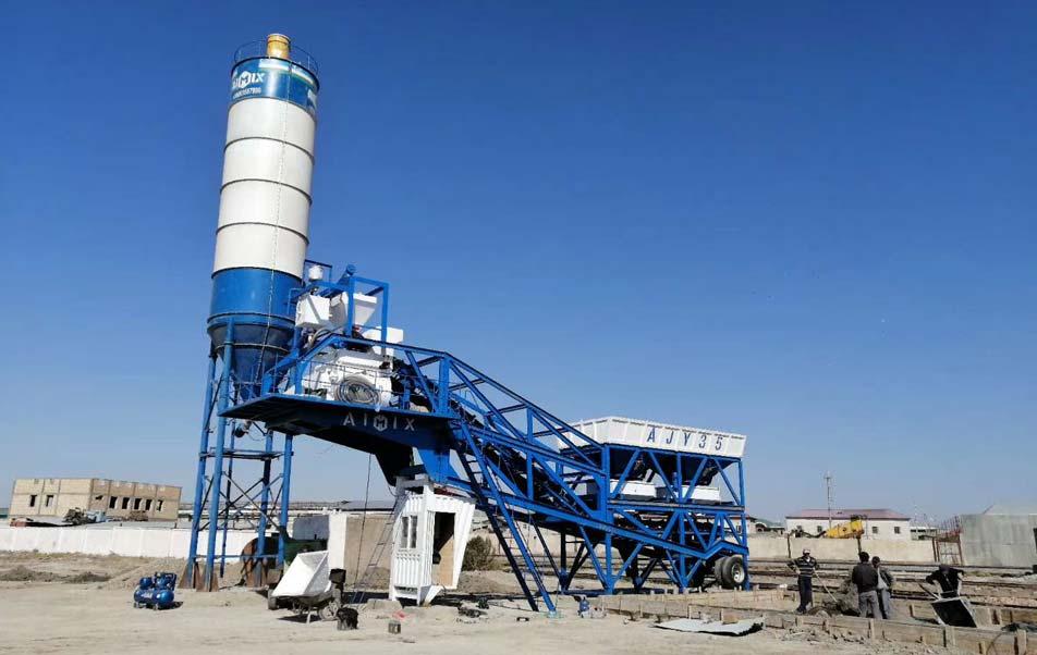 AJY35 Mini Concrete Plant in Uzbekistan