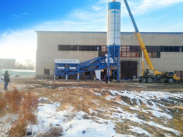 60 m3/h small concrete mixing plant