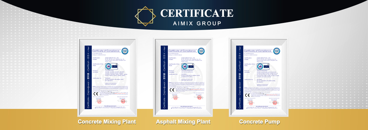 CE Certificates of AIMIX Construction Machine