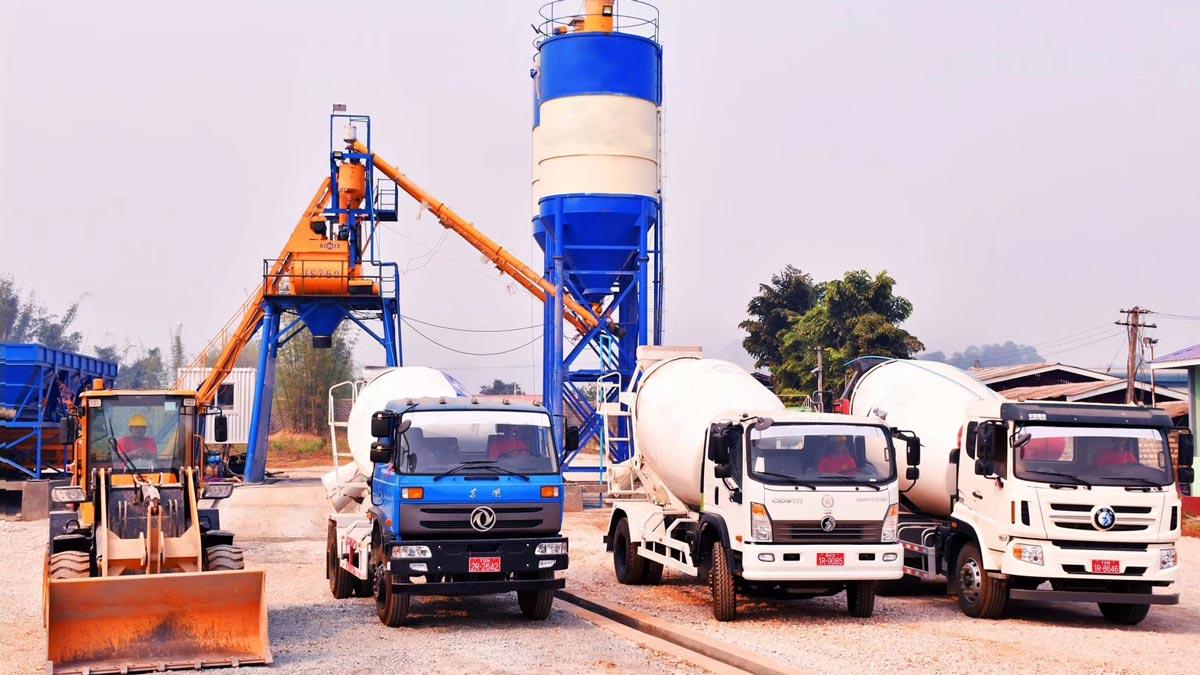Mobile Concrete Mixer Truck on Construction Site