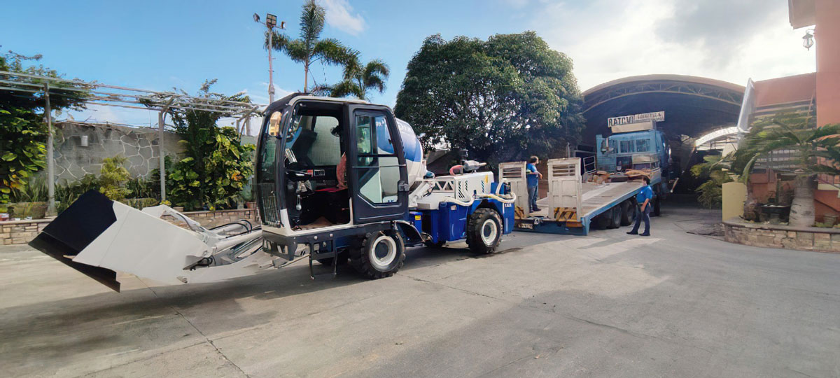 Unloading AIMIX Self Loading Concrete Mixer In The Philippines